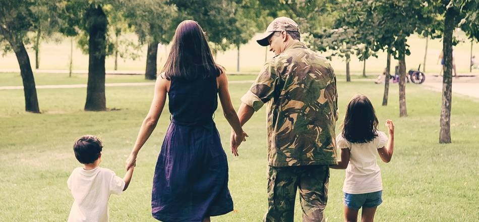 Military family walking together